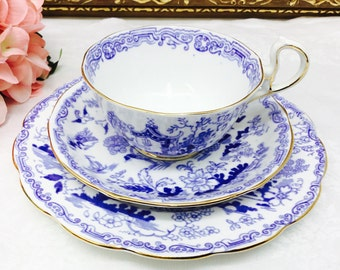 Royal Albert Crown china teacup, saucer and dessert plate.