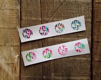 Lilly Pulitzer Inspired Fitbit Monogram Decals Set of 4 Personalized Fitbit Stickers Monogram Decal Stickers