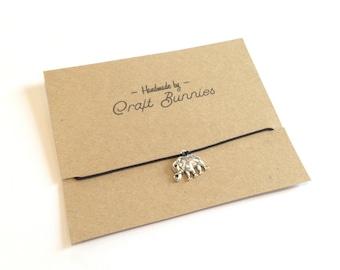 More colours! Bracelet/anklet: Indian elephant adjustable string charm bracelet or anklet