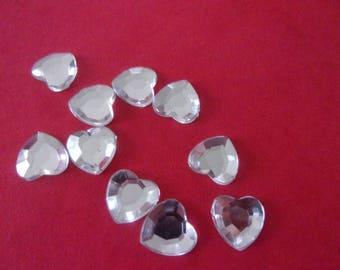 Silver acrylic, glue - heart shaped rhinestone 8mm