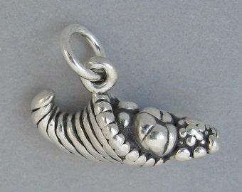 CORNUCOPIA Sterling Silver 925 Charm Pendant 3D THANKSGIVING Horn Of Plenty 3818
