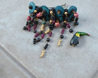 Vintage hair jewelry Piece Colorful Wood Beads and Parrot Dangles