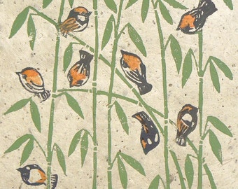 House Sparrows on the Bamboo, linocut print