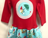 Girls Red Christmas Dress -Applique Holiday Frock with ...