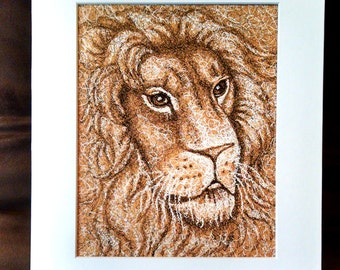 Lion Drawing, Lion art, animal drawing, pen and ink drawing, wild animal, lion wall art, gift, African art, lion decor, lion illustration