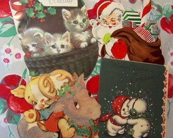 4 vintage used christmas cards
