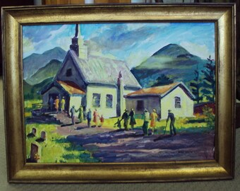 Acrylic Painting of a Country Church by known artist Hugo Ohlms