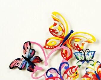 Horizontal Butterflies, Metal art, Wall Hanging, Wall Sculpture, Home decor, Wall decor, Medium wall art, Metal Wall Hanging, Animal art, Or