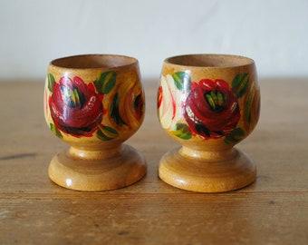 Vintage Egg Cups - Wooden Egg Cups - Folk Style