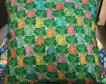 """Square Cushion/pillow Cover in """"Judiths Fancy"""", Pineapples in blue by Jennifer Paganelli"""
