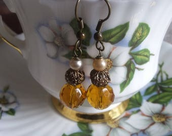 SUMMER 50%OFF SALE /Antique Amber Glass Pearl Filigree Brass Teardrop Earrings, Handmade