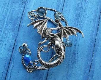 Silver Ear Cuff Dragon Blue Ear Cuff Wire Jewelry No Piercing Wing Ear Cuff Wire Jewelry Wire wrapped Jewelry