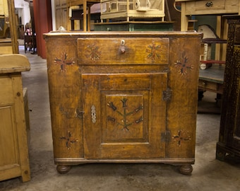 Beautiful Central European Painted Food Cupboard