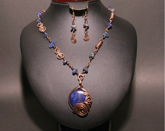 Lapis Lazuli Jewelry Set, Lapis Necklace and Earring Set, Copper Jewelry Set, Wire Wrapped Jewelry, Wire Jewelry, Copper Jewelry