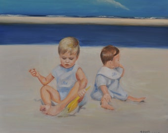Custom Oil Beach Portrait from your photographs size 20x24
