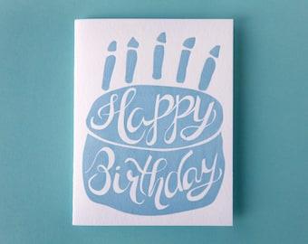 Happy Birthday Cake Letterpress Greeting Card
