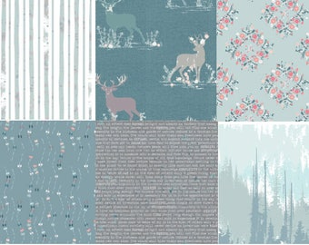 Fat Quarter Bundle, Woodland Theme, Cotton Fabric, Art Gallery Fabric, Blithe, Elk, Deer, Trees, Blue and Pink, Stags, Cool, Fat Quarters