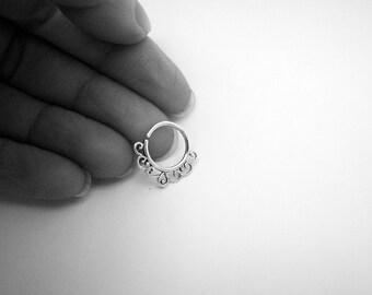 Silver Septum Ring. Indian septum ring. septum jewelry. tribal septum ring. septum piercing. sterling silver septum ring.