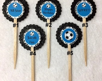 Set Of 12 Personalized Soccer Birthday Party Cupcake Toppers (You Choice Of Any 12)