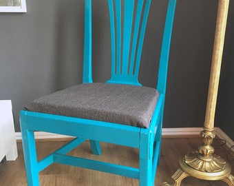 Dining Chair / Blue / Upcycled Furniture | Dining Chairs | Kitchen Chairs | Shabby Chic | Boho Decor | Gothic Home Decor | Rustic Decor