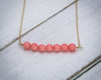 Ocean charm, sea necklace, coral necklace, natural coral necklace, beach necklace, unique necklace, gift under 50, gemstone necklace.