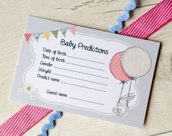 Set of 12 Baby Prediction Cards for Baby Shower Party - Free P&P