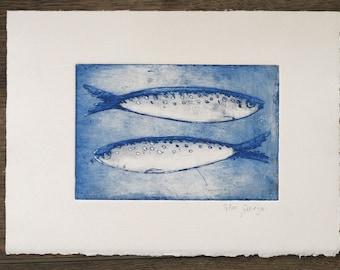 two fishes, original etching, signed, blue  and White, fish, sea, nautical, coastal Illustration