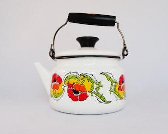 Vintage Enamel Teapot - Enamel Tea Kettle - White Enamel Teapot - Mid Century Teapot - Enamelware