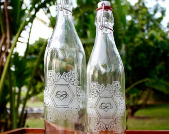 16oz and 32oz Infinite Love and Gratitude Crystal - Etched glass bottle