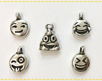 Pack 5 Different WhatsApp Emoji Charms, Zamak WhatsApp Emoj Charms, DIY Jewelry