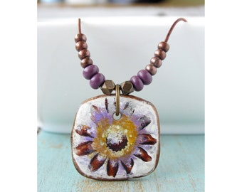 Polymer Clay Jewelry featuring a Flower Blossom Beach Boho Design in Purple, Gold, Brown and White