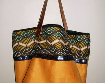 Yellow ochre and printed suede tote bag, leather handles