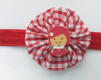 Red gingham yo yo headband with little girl button