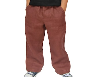 CLOSING DOWN SALE. Brown Handmade Linen Trousers