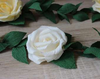 Wedding Paper Rose Flower Garland with Leaves, Wedding Garland Backdrop, Nursery Decorations, Paper Roses Garland, Bridal Shower Decorations