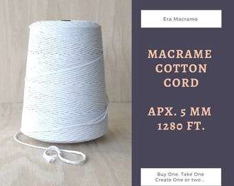 Macrame rope - apx 5mm Cotton cord - DIY cotton rope 1280 ft. - Macrame supplies - EraMacrame - Macrame wall hangers