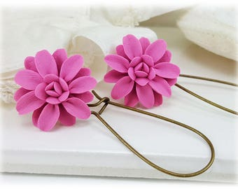 Pink Dahlia Dangle Earrings -  - Silver Gold or Antique Brass Pink Dahlia Drop Earrings, Pink Flower Earrings