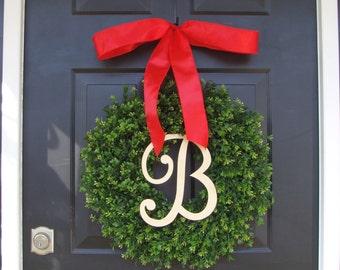 Monogram Boxwood Christmas Wreath-  Personalized Holiday Wreath with Burlap Bow, Housewarming Gift, Wedding Wreath 18 INCH
