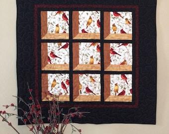 Cardinal wall hanging, homemade wallhanging, quilted wallhanging, quilt, cardinal tabletopper