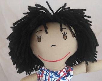 African American Doll, Soft Rag Doll, Shower or Girls Birthday gift, Custom Dolls, Wedding Pair, Embroidered Face, Plush Doll, Stuffed Doll