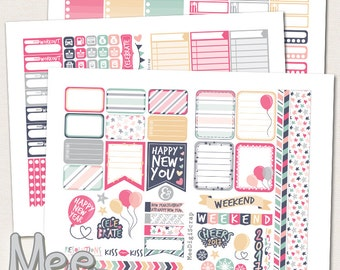 January 2017 New Year stickers for use in Erin Condren planner,Printable stickers,Weekly kit,December/January stickers,planner sticker set,