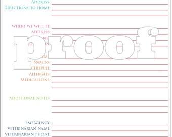 Personalized Petsitter Notes Printable