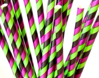 Black, purple and green paper straws-set of 25- green, black and purple striped halloween paper straws, halloween parties, wicked party