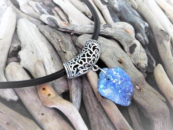 Cornflower Blue Titanium Opal Aura Druzy Quartz Crystal Choker Necklace Rough Raw Geode Crystals - Filigree  - Angel AB Aurora Borealis