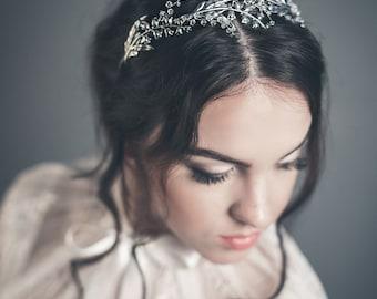 Braut DIAdem - Maiglöckchen Haar Stück - Maiglöckchen-Krone - Kopfschmuck - Silber Braut tiara