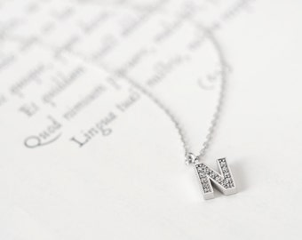 Initial N Necklace Silver925