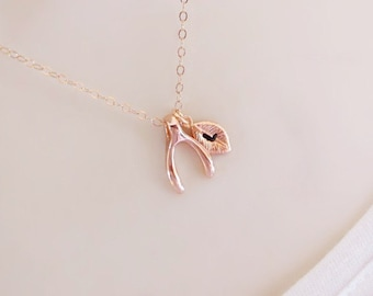 Wishbone Necklace, Rose Gold Initial Necklace, Wish Necklace, Personalized Necklace, Dainty Necklace, Initial jewelry,valentines gift,charm