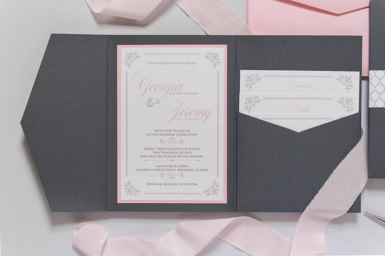 5x7 Grey, Pink, Silver Pocket Wedding Invitation with Return Address ...