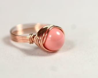 Rose Gold Pink Coral Ring Wire Wrapped Jewelry Handmade Rose Gold Ring Rose Gold Jewelry Pink Ring Pink Gold Ring Swarovski Pearl Ring
