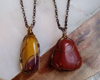 Mookaite, Red Jasper Healing Crystal Wire Wrapped Necklace
